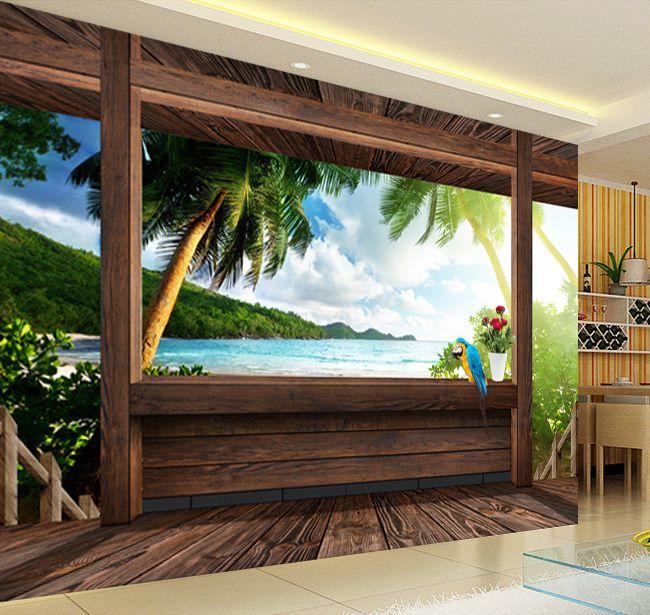 tapisserie trompe l 39 il effet 3d vue de la mer depuis ma petit cabane extension d 39 espace. Black Bedroom Furniture Sets. Home Design Ideas