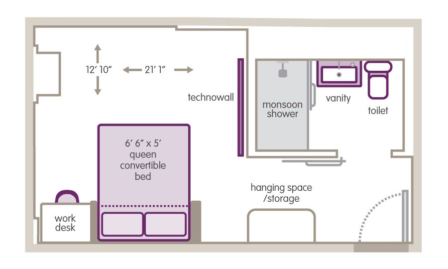 Small hotel room floor plan hotel pinterest room for Small apartment layout plans