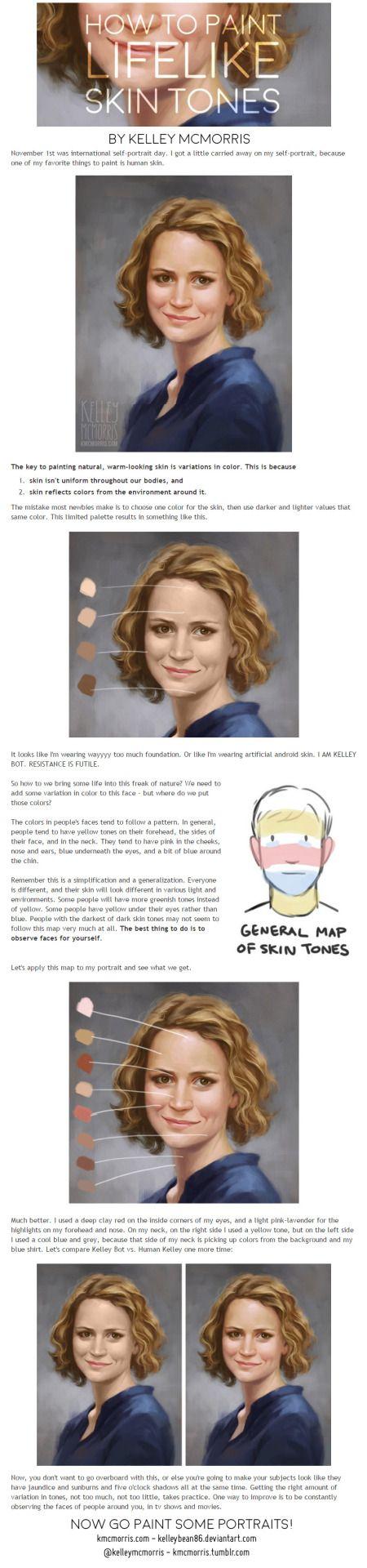 How to paint lifelike skintones by kelleybean how to art