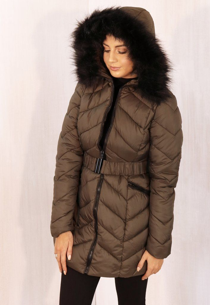 c2a01fcbd Jasmine Long Belted Hooded Chevron Puffer Coat with Black Fur Trim ...