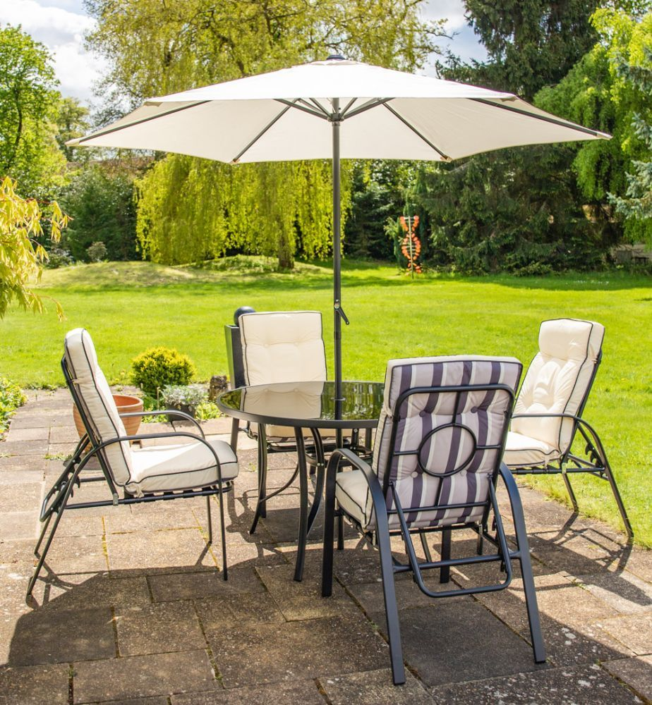 Hadleigh 4 Seater Reclining Steel Garden Dining Furniture Set In Black By Hectare 349 99 Outdoor Heating Dining Furniture Sets Patio