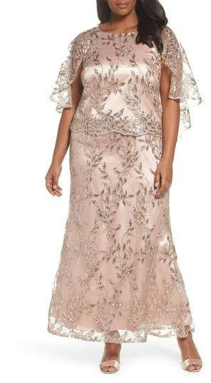 ad2330f39de BRIANNA Sequin Embroidered Capelet Gown