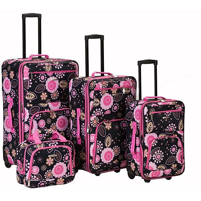 Travel in style with this flower print luggage set. With vibrant ...