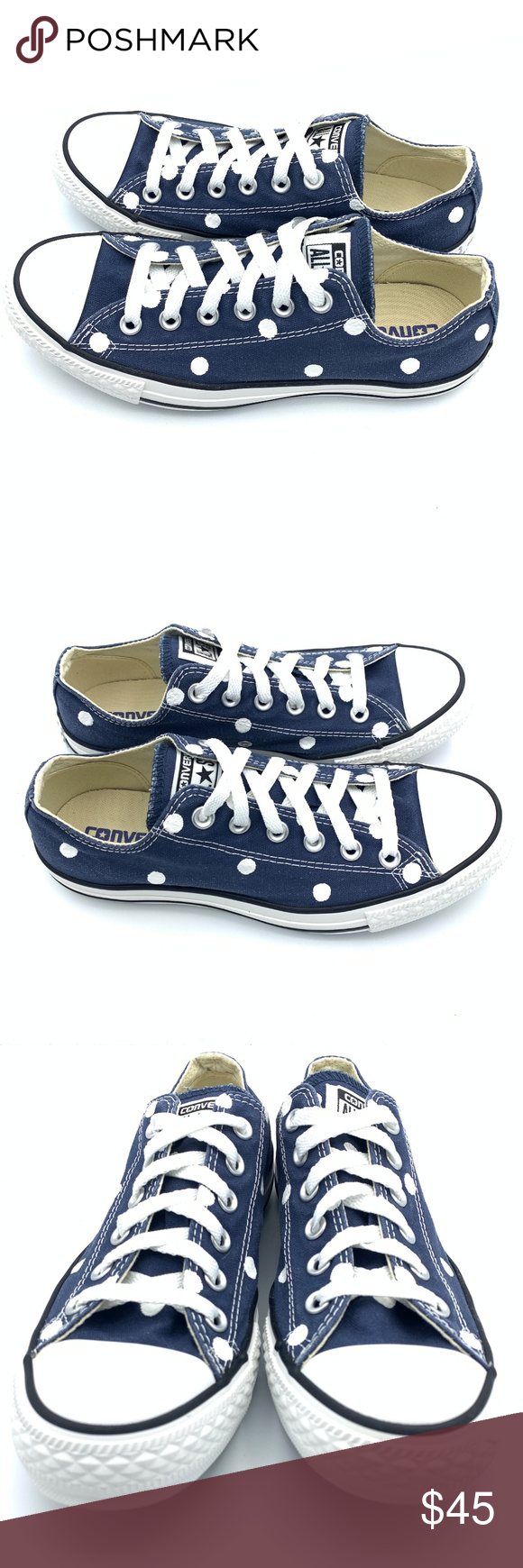 Converse 8 NAVY BLUE Polka Dot Chuck Taylor AS Hand painted unisex Converse  Chuck Taylor All 776743d89
