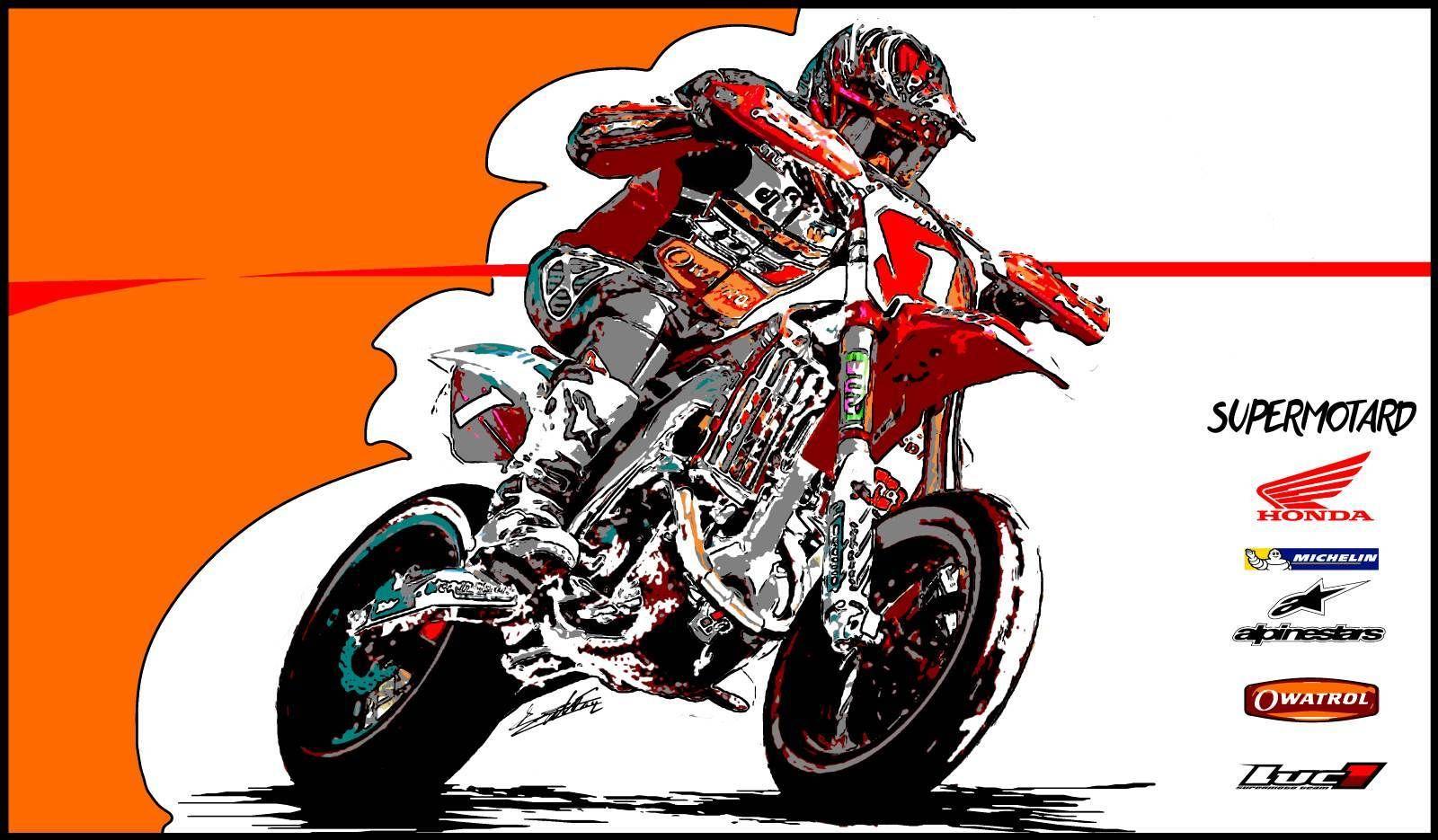 Tableau moto supermotard dessin supermoto acrylique main - Dessin de motard ...