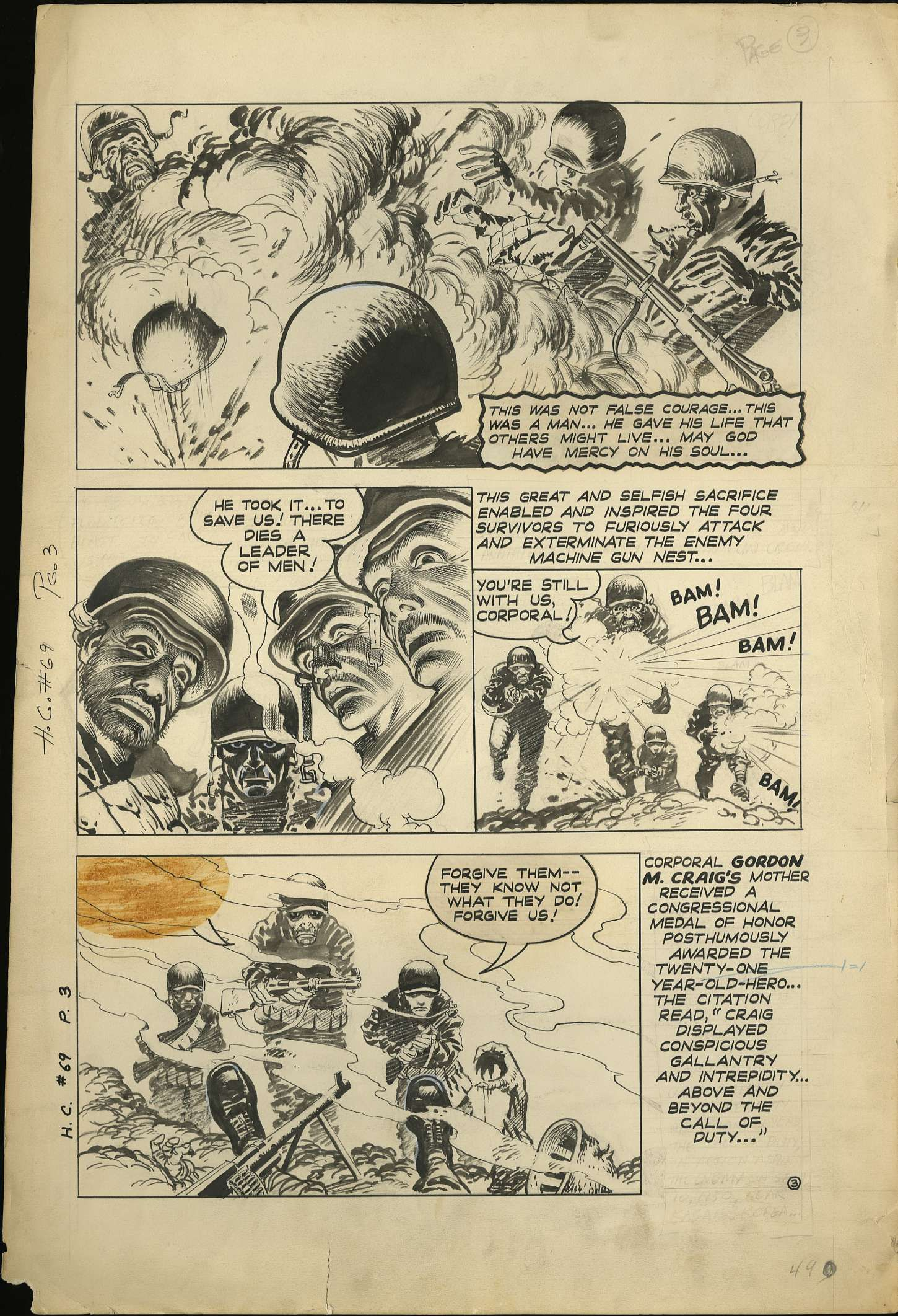heroic comics beyond the call of duty complete original  heroic comics 69 beyond the call of duty complete original 3 page story art page 2 eastern color nov 1951 james halperin private collecti