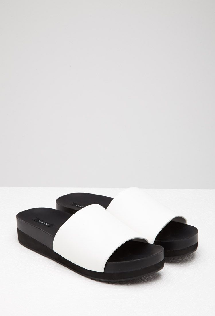 f6bd734b739 Faux Leather Platform Slides - NEW ARRIVALS - 2002247097 - Forever 21 UK