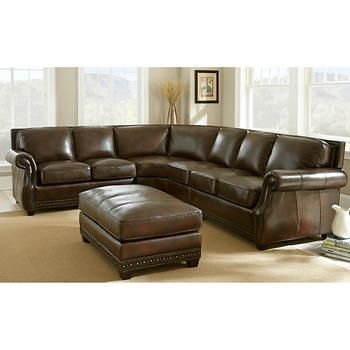 Hampton Court Top Grain Leather Sectional And Ottoman