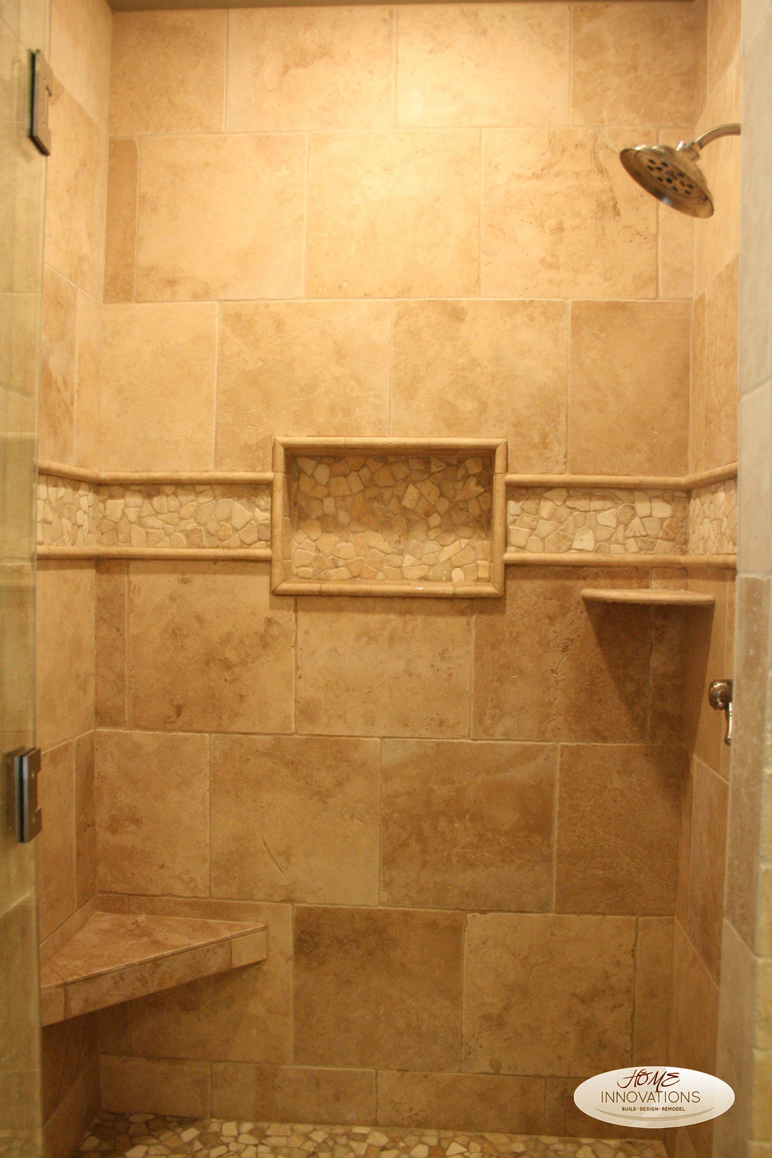 Beige Tumbled Travertine Tile Master Bathroom Visit Us On