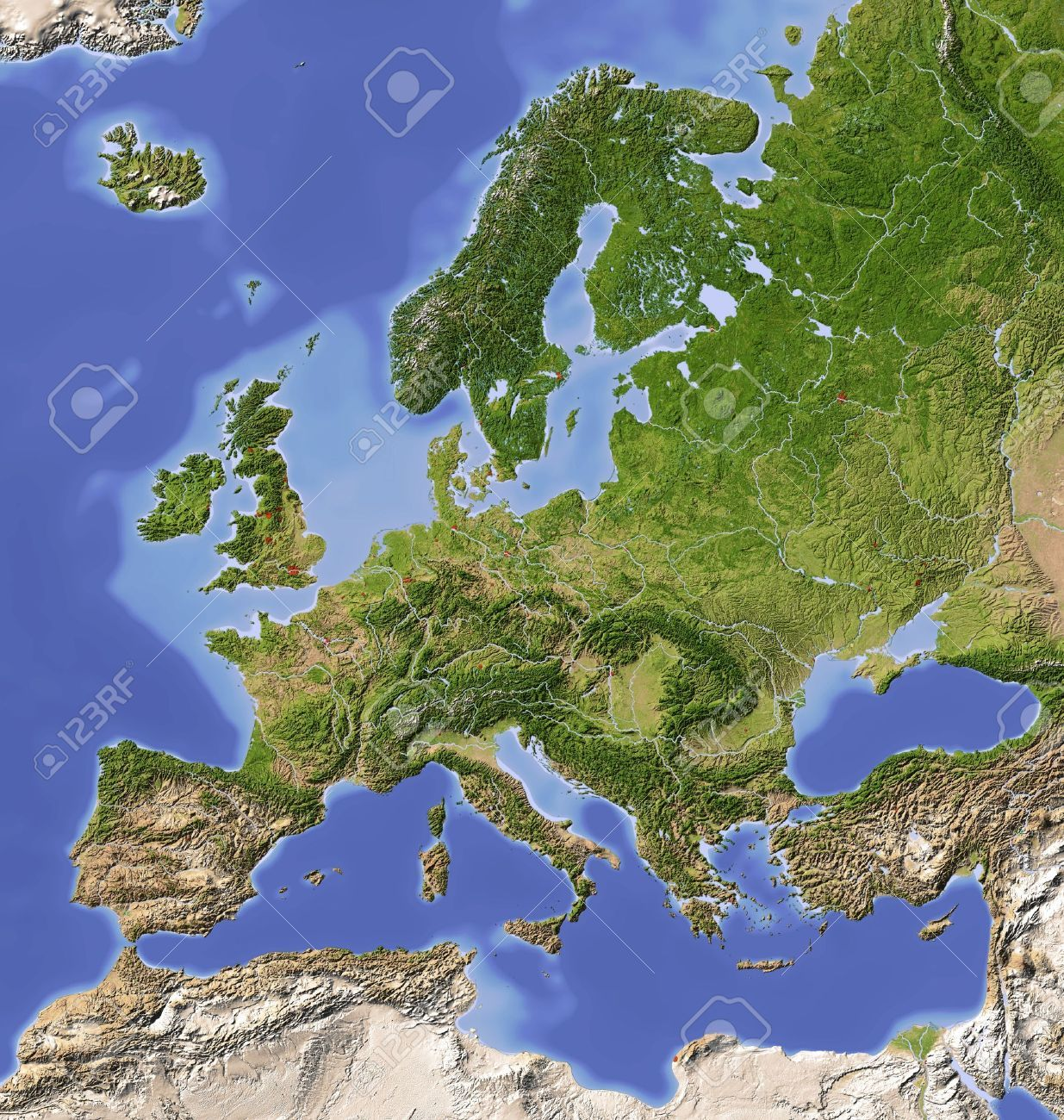 Europe Shaded Relief Map With Major Urban Areas Colored According Relief Map Terrain Map Europe Map