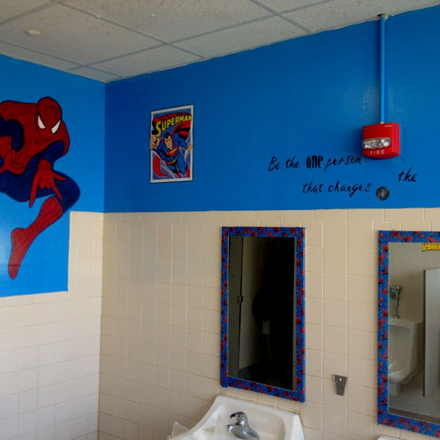 Bathroom Ideas For College : School mural boys murals