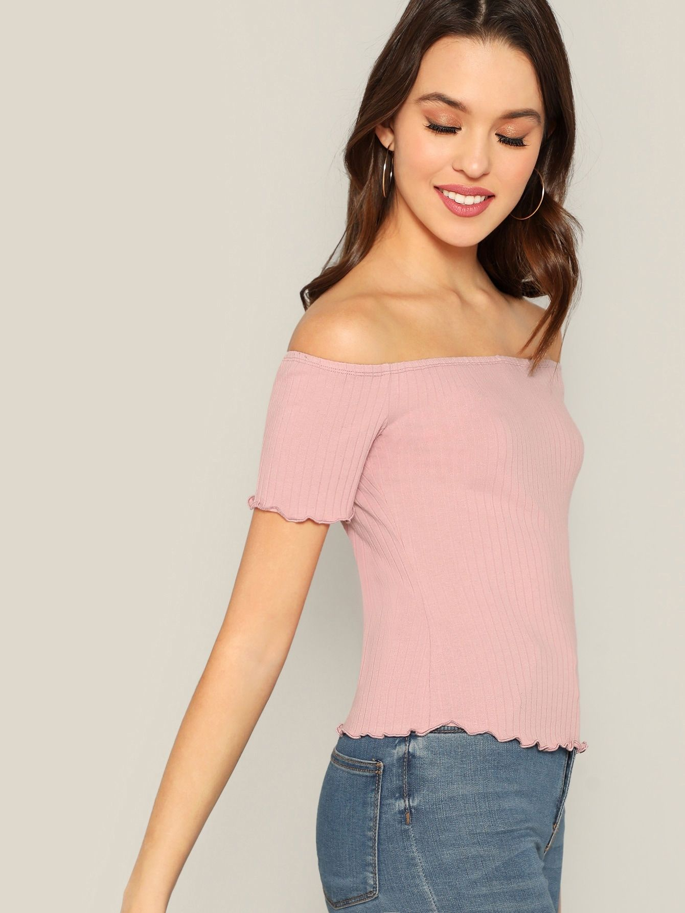 5cfada88b3bfd Off Shoulder Lettuce Trim Rib-knit Tee Trim Lettuce Shoulder