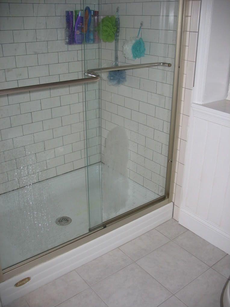 white subway tile bathroom | We installed the home depot white ...