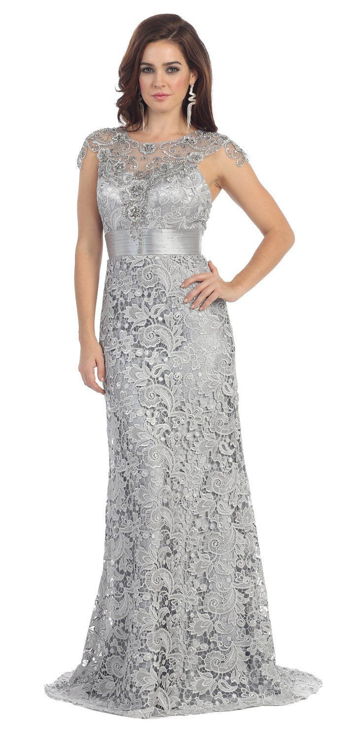 This Fabulous Plus Size Dress Comes With Round Neckline Floor Length Sequins Mix Rhinestones Embroideries On Top And Back Side Fine Lace