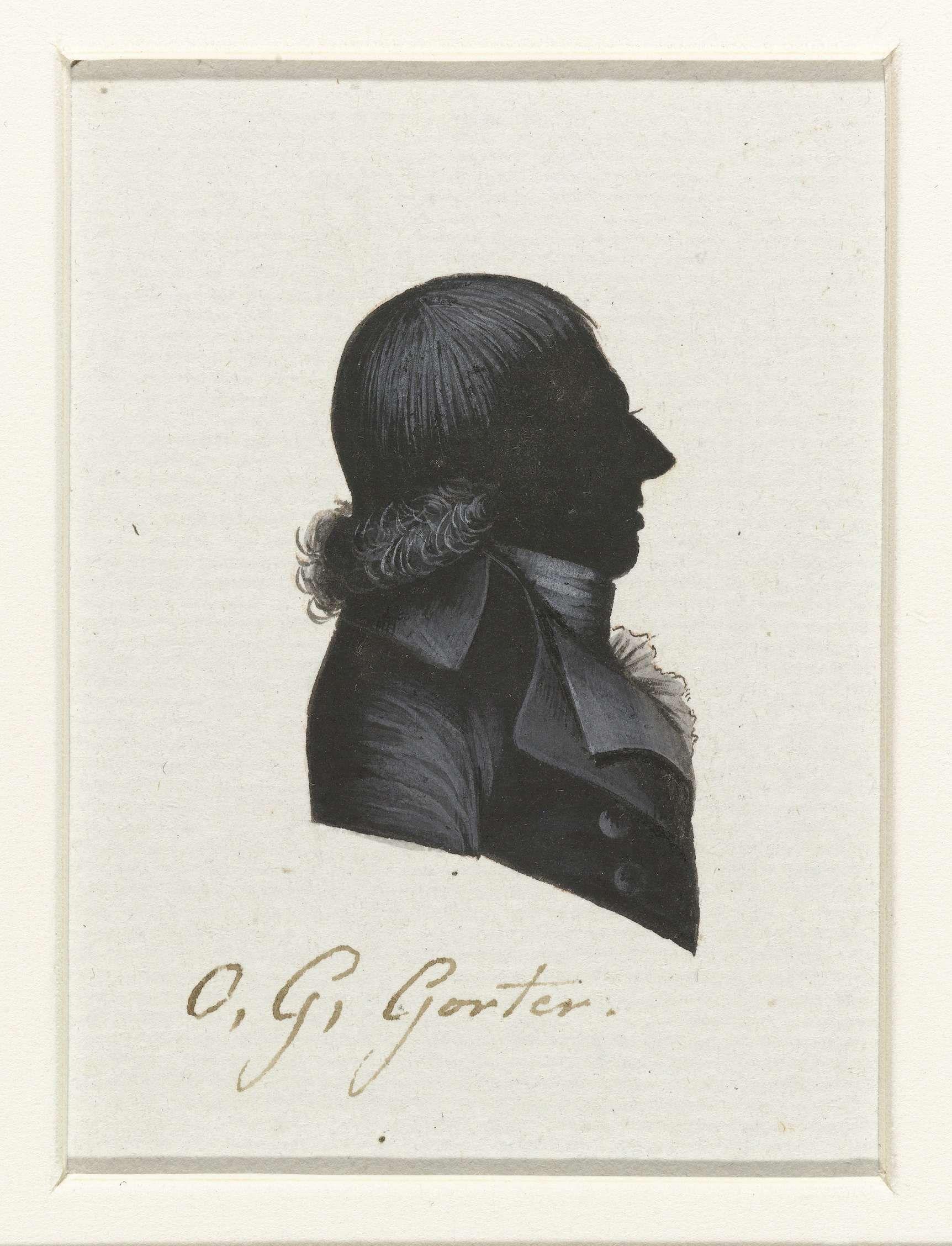 anoniem   O.G. Gorter, possibly Hausdorff, 1796   Silhouet van borstbeeld in profiel naar rechts. Tot over de schouders, aan de onderzijde opkrullend haar. Jabot. Opschrift; o.: O. G. Gorter.