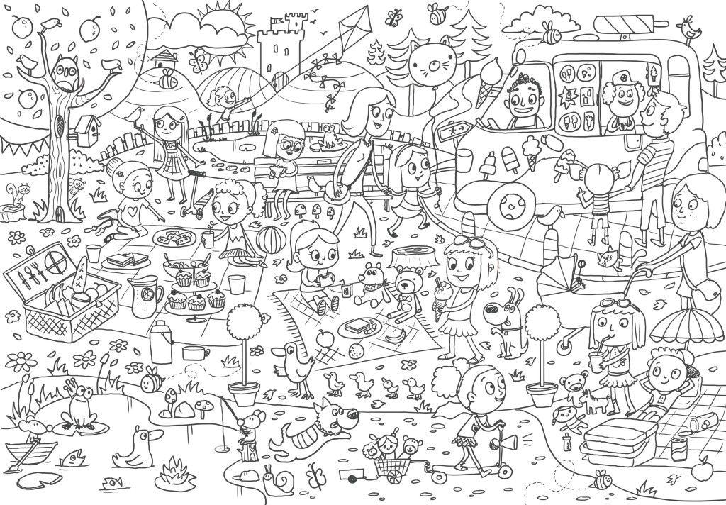 Picnic, illustrazione per bambini, da colorare, estate-5898