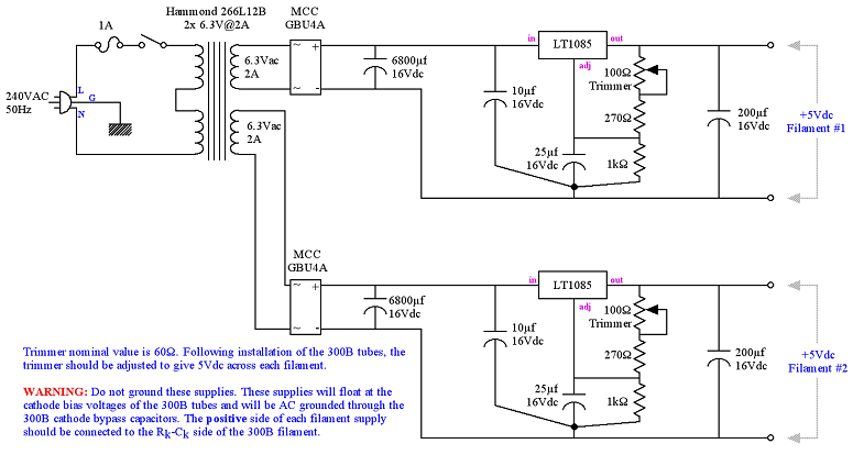 5V Regulated Power Supply Schematic for 300B Heater Filament
