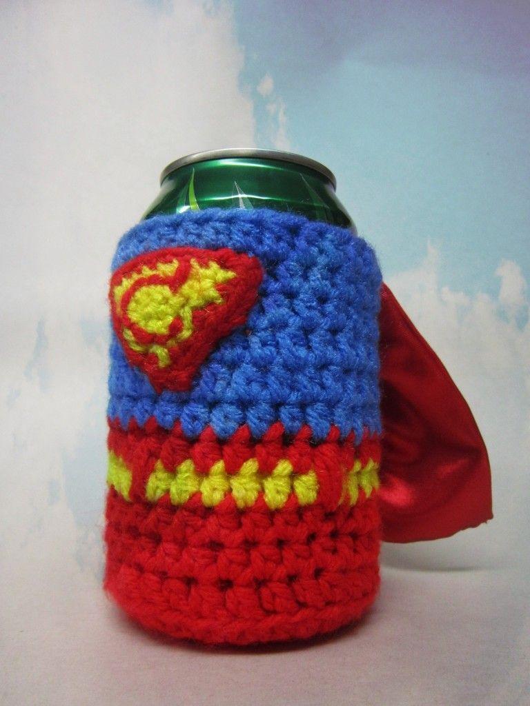 Crochet Drink Cozy Koozie Superman Crochet Pinterest Crochet