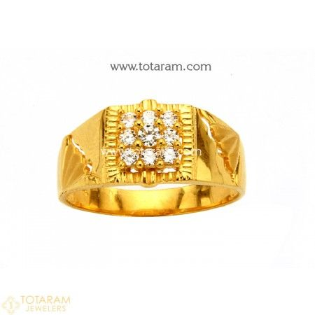22K Gold Ring for Men with Cz 235 GR3865 Buy this Latest