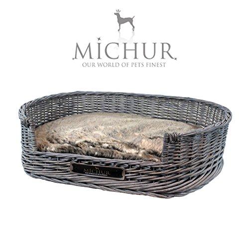 Rattan Large Dog Bed Basket With Pillow, Dark Grey
