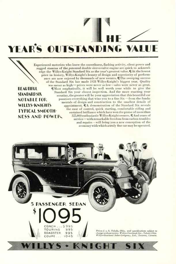 1928 Willys-Knight Six | Vintage Car Ads and Signs | Pinterest ...