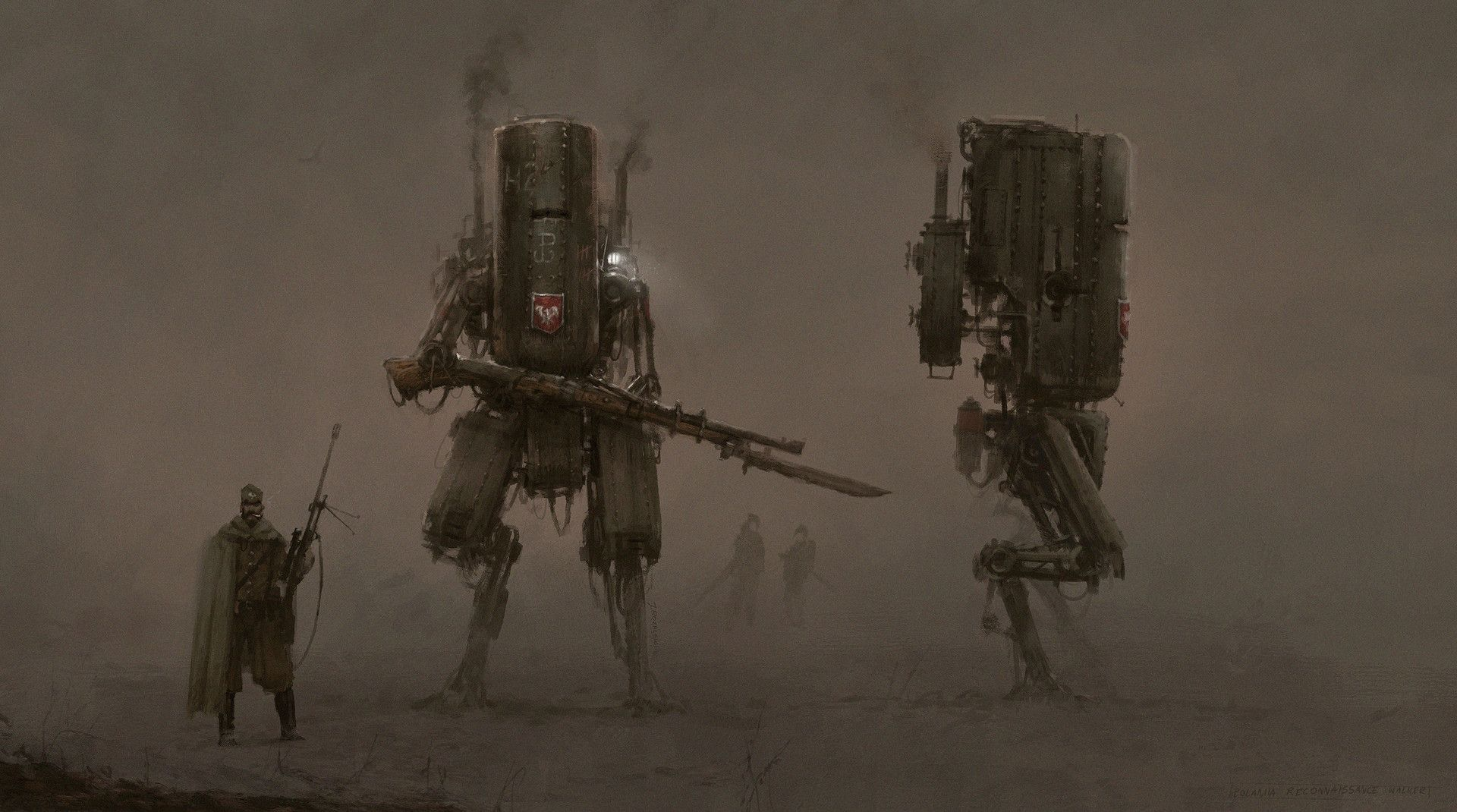 PZM - 7 Śmiały Ok, as I already announced that I'm working on a video game set in the my 1920+ world, I think I can share one of the early concept art of Polania automachine (mech) - PZM - 7 Śmiały, hope you like it, it is a light reconnaissance and fire support automachine (mech) cheers!