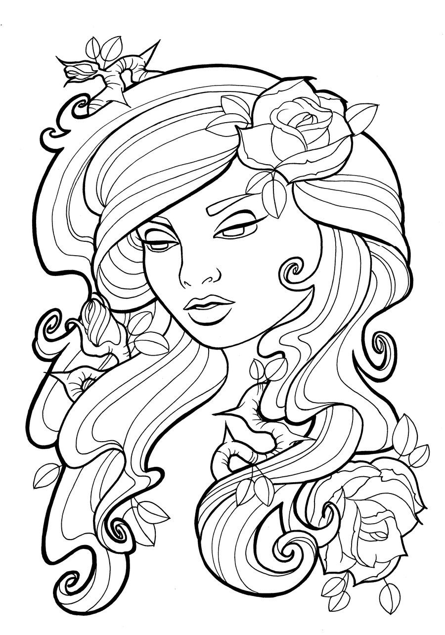 Nouveau Roses Lines By Koyasan On Deviantart Rose Coloring Pages Barbie Coloring Pages Heart Coloring Pages