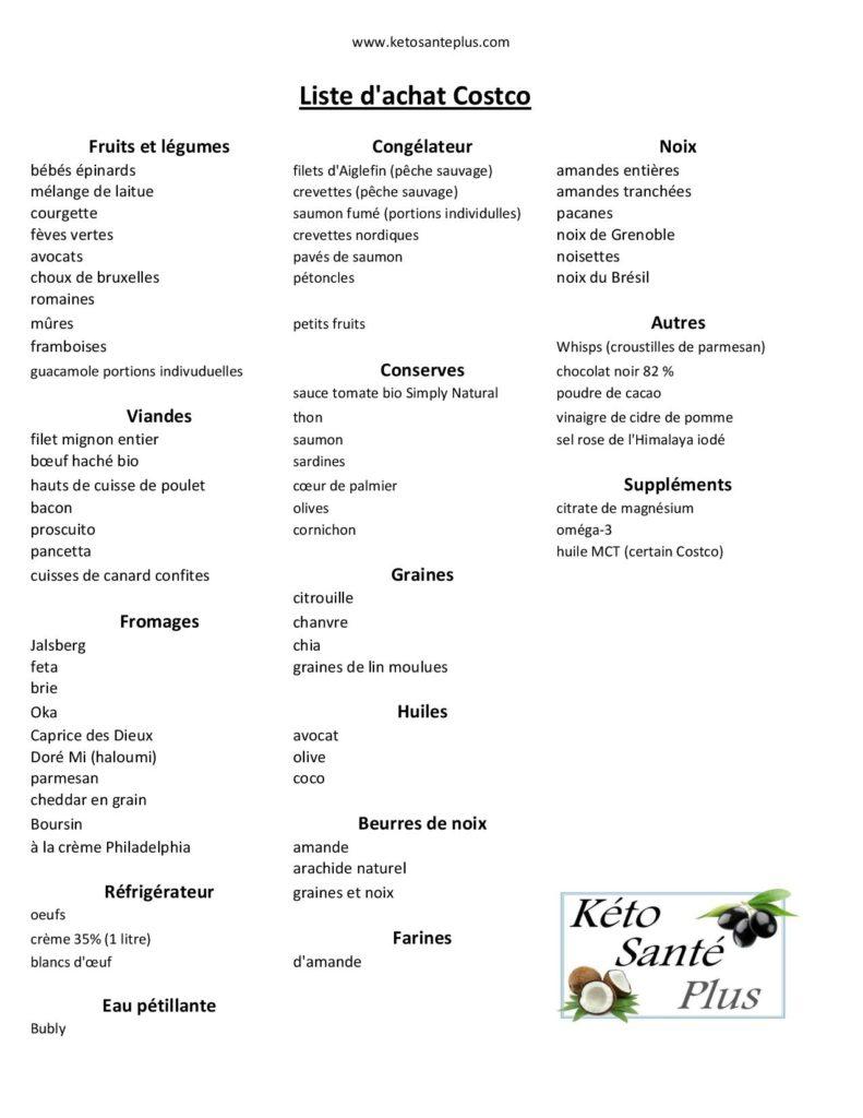 Liste D Achat Costco Produits Keto Cetogenes Sans Gluten Keto Nutrition Journal