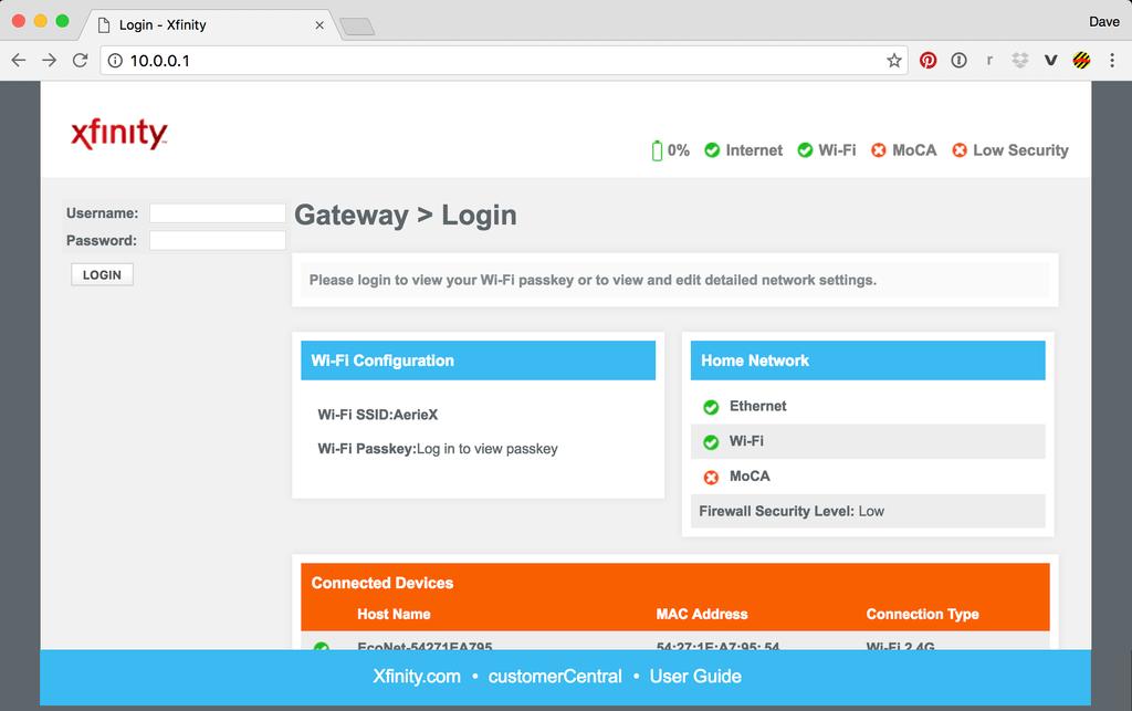 10.0.0.0.1 Comcast Xfinity IP Address Router login