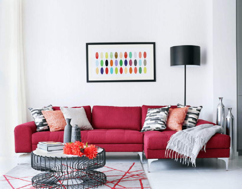 Living Room : Red Couch White Wall Colored Pattern Pillow & Throws ...