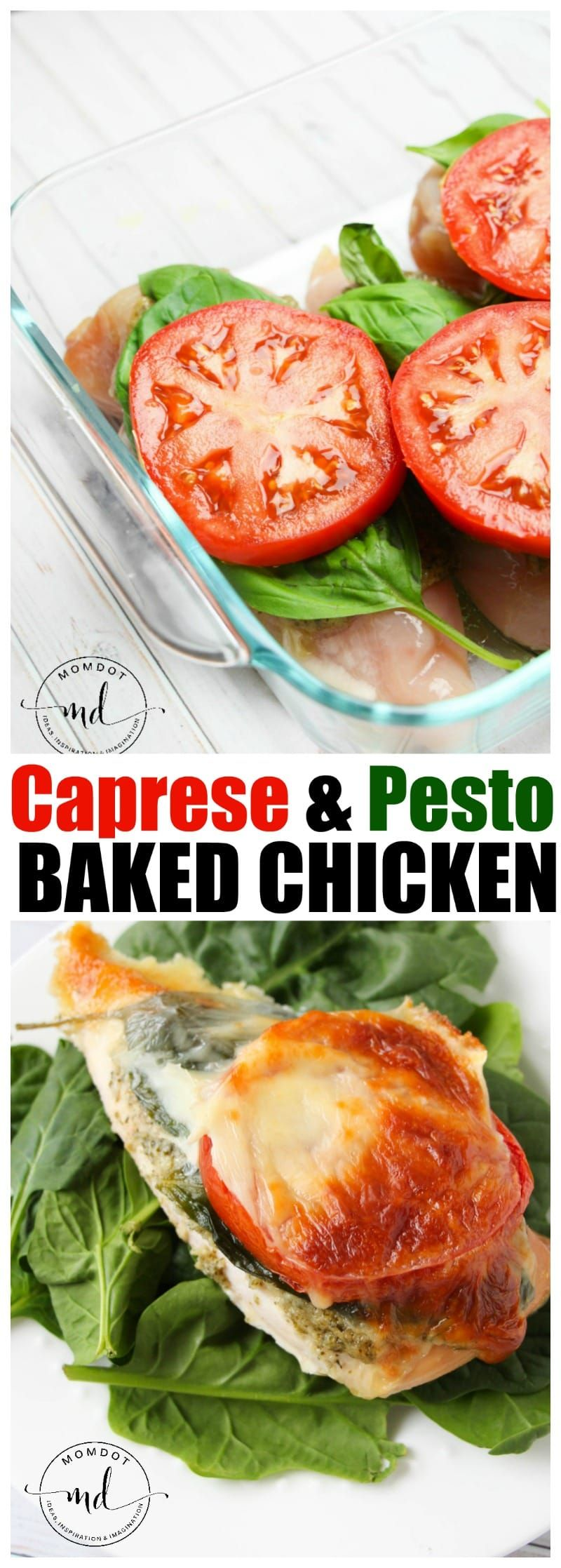 Baked Caprese Pesto Chicken, 21 Day Fix Friendly, Keto Friendly, Clean Eating Recipe