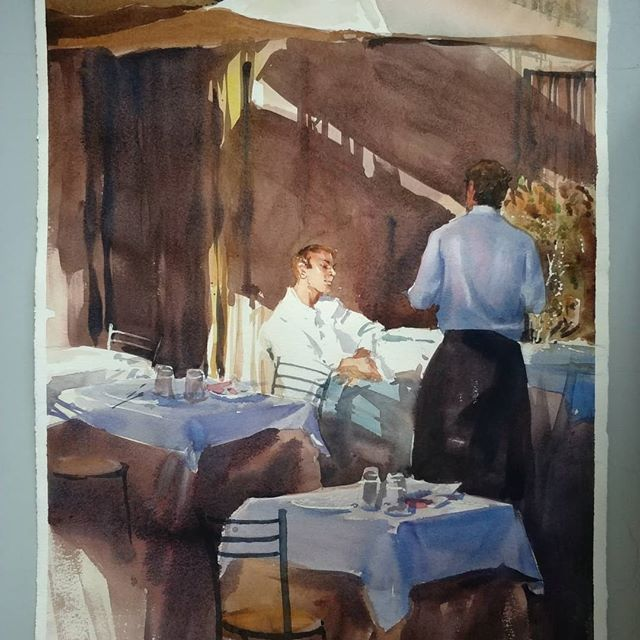 During these gloomy December days I am going back to relax summer sun in Italy... #sterkhovart #cafe #italy #restaurant #pizza #pasta #italiancusine #watercolor #aquarello #akvarelli #waiter