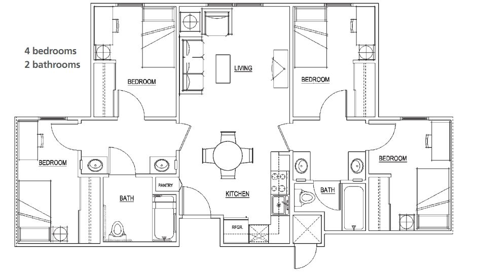Floor Plan Four Bedrooms Two Bath Full Kitchen With