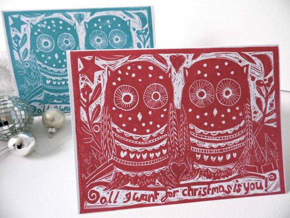 Great Idea, make your own (Christmas) card by lino print! (these