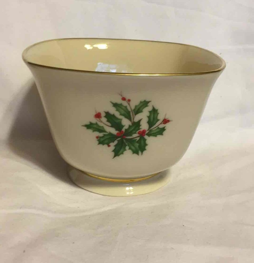 Lenox Holly Christmas China Square Footed Bowl Porcelain w/Gold ...