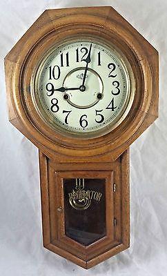 Vintage D A Regulator Wall Clock Octagon Key Wind Up 31 Day Oak Wall Clock Works Clock Wall Clock Antique Wall Clock