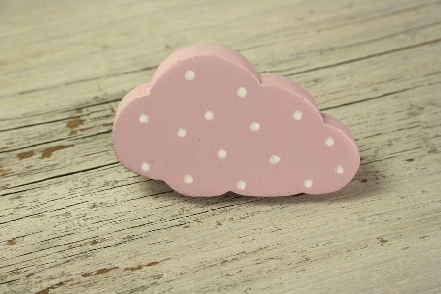 Bouton de meuble nuage rose en bois peint  Meubles et rangements - meuble en bois repeint