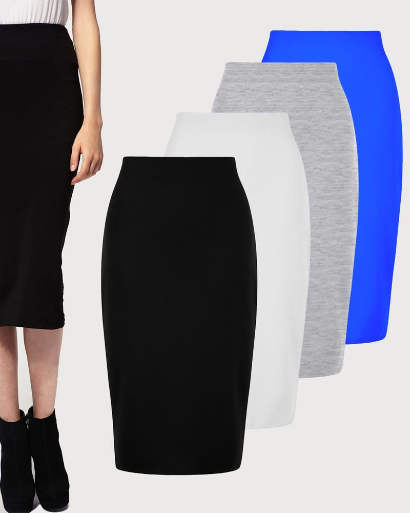 UK Womens High Waisted Plain Jersey Summer Bodycon Tube Pencil Short Mini Skirt