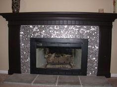 fireplace mosaic tile black mantel - Google Search