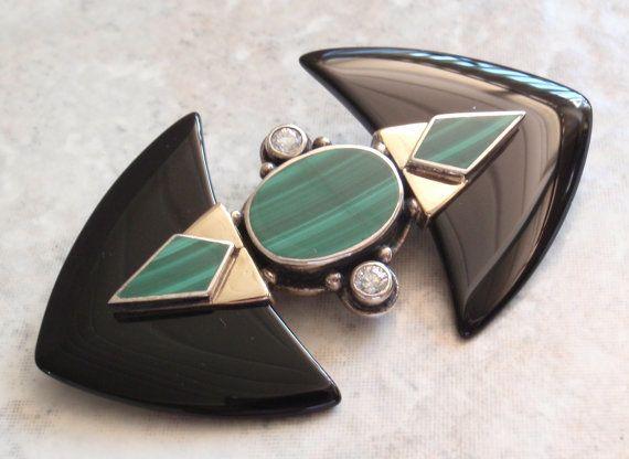 9K Gold Brooch Art Deco Black Onyx Malachite by cutterstone