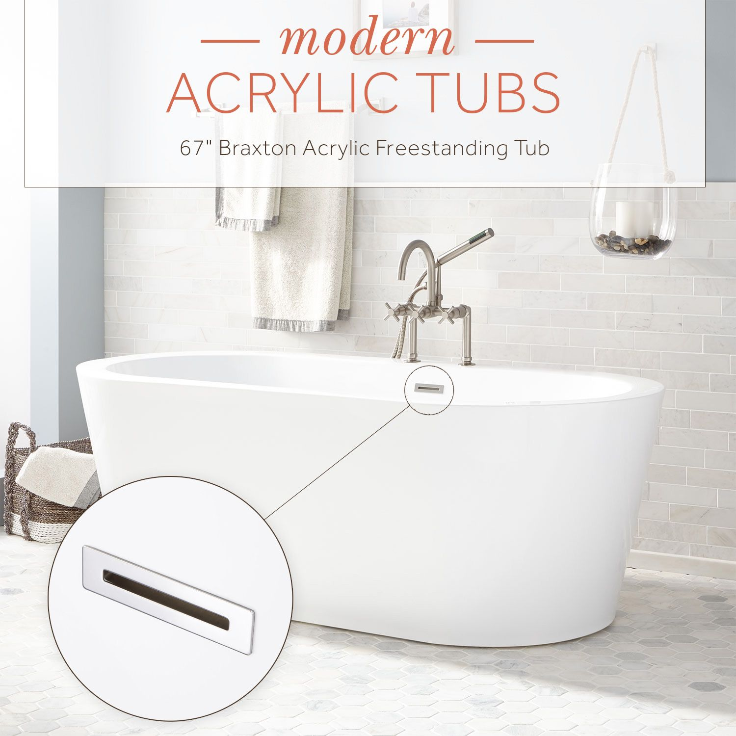 For a minimalist design, the Braxton Acrylic Freestanding Tub is a ...