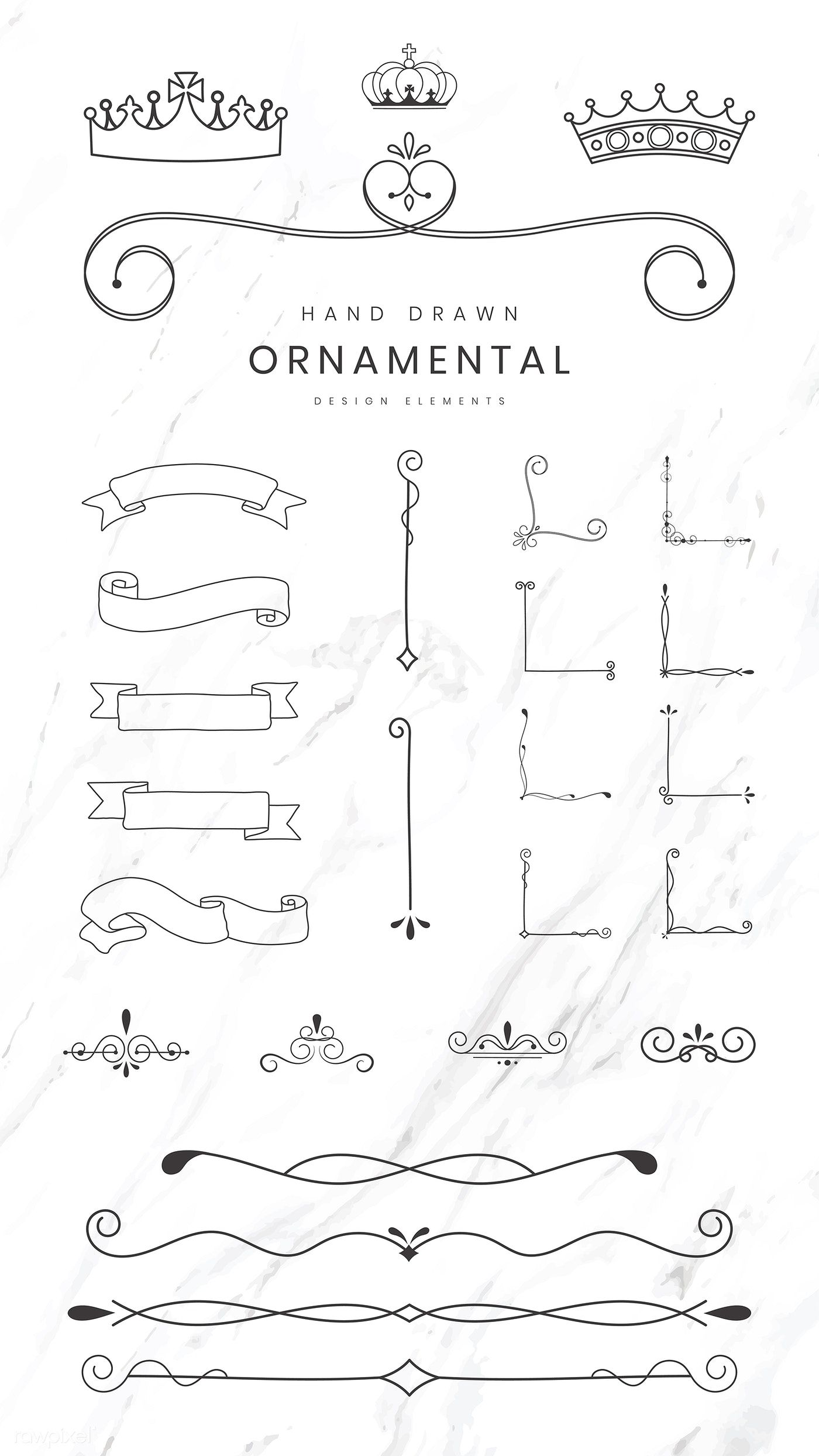 Download Premium Vector Of Hand Drawn Ornamental Design Elements Vector How To Draw Hands Design Elements Frame Border Design