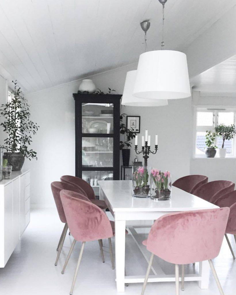 White dinning room making it special by adding velvet dusty pink arm chairs click here to see all inspirations also why are you so obsessed with millennial the color of this rh pinterest