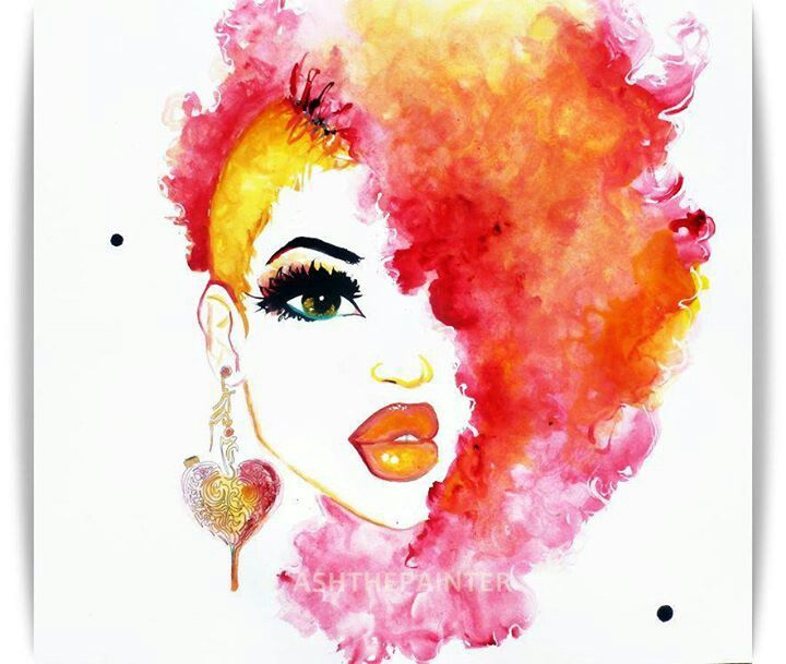 electric pink 8.5x11 print watercolor