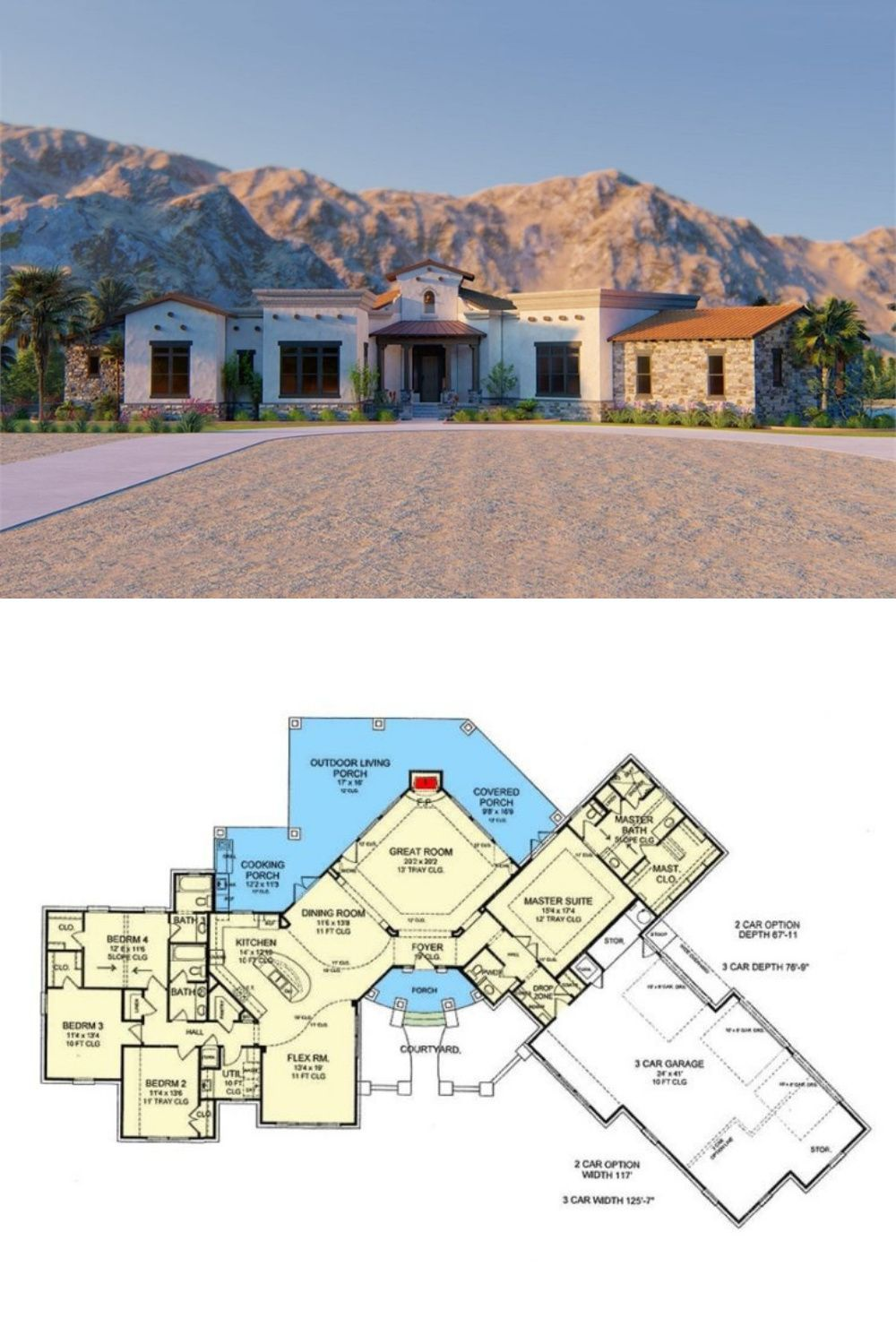 e Story 4 Bedroom Tuscan Style Santa Fe Ranch with Angled 3 Car Garage Floor Plan