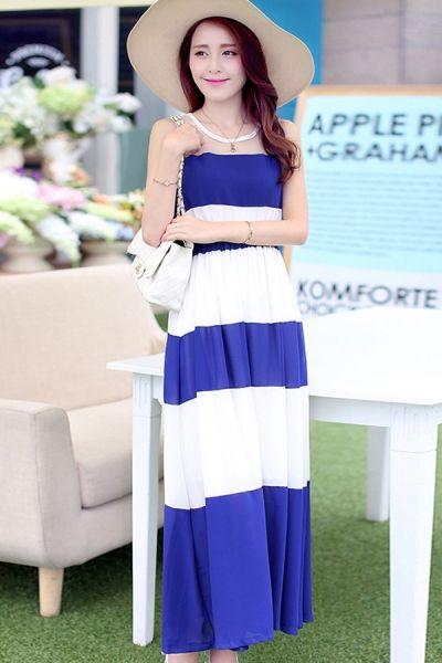 ca605fb4e777 Striped Chiffon Long Dress - OASAP.com