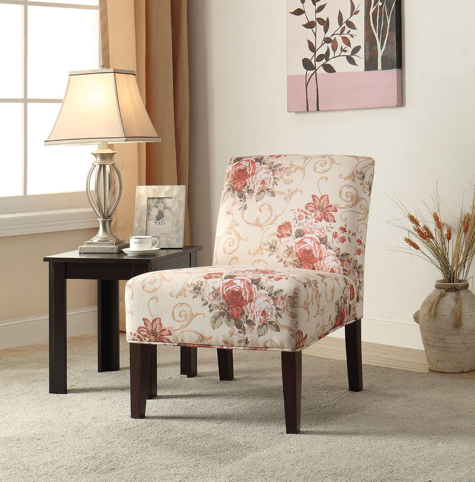 Floral Pastel Red Accent Chair 199 00 30 W X 22 D X 33 H Ctc
