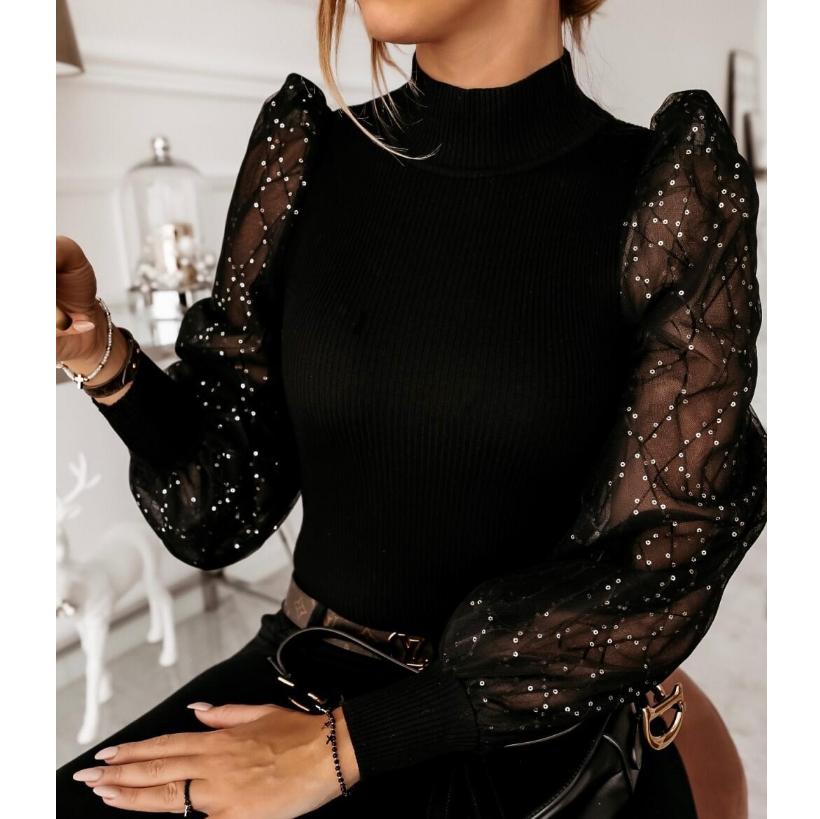 High Neck /& Twist Turtleneck Collar Vintage Black and White Long Sleeve Silk Blouse