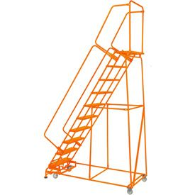 Grip 24 W 9 Step Steel Rolling Ladder 21 D Top Step W Handrails Lock Step Orange Fs093221g O Rolling Ladder Ladder Handrails