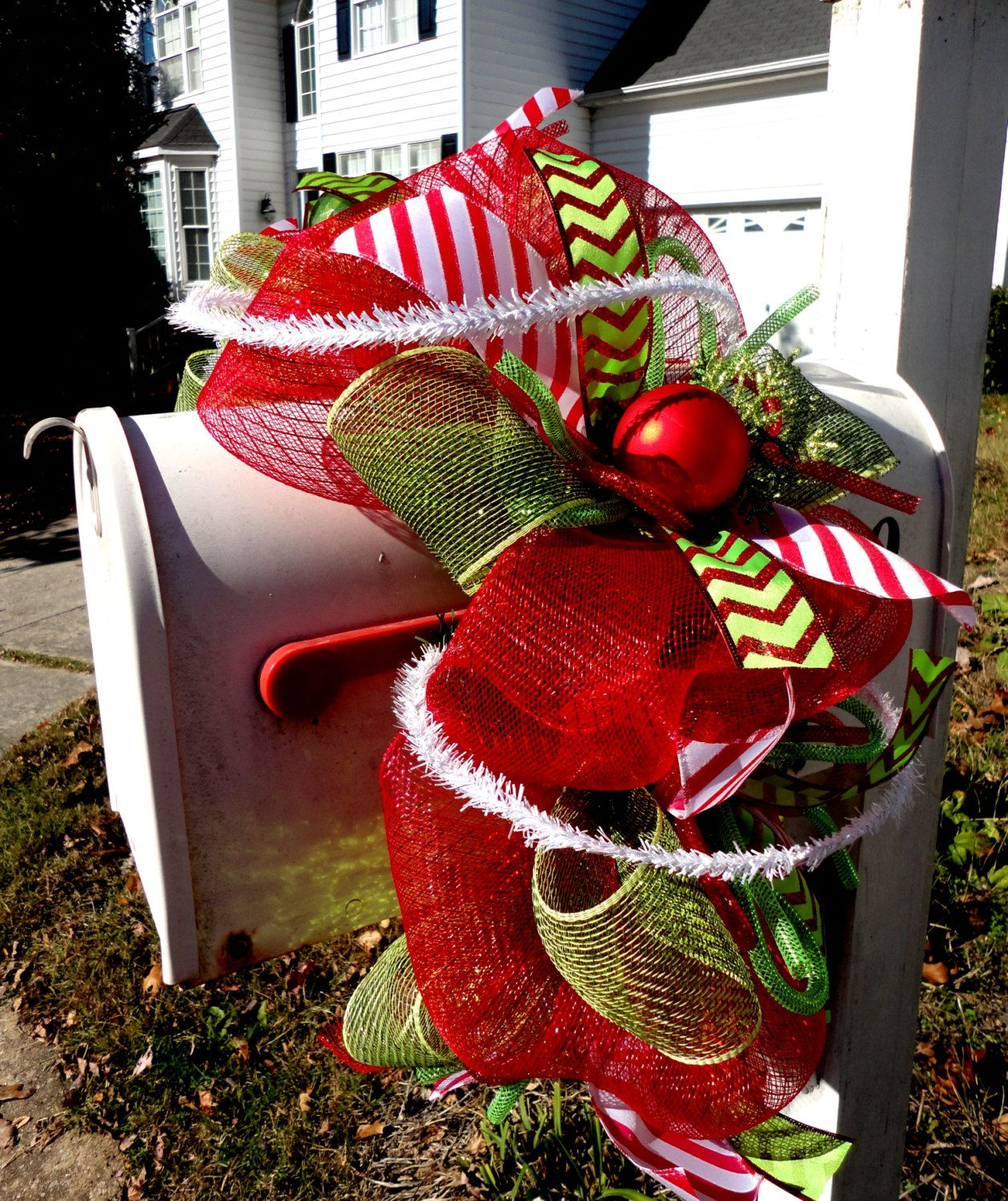 love ribbon decor mailbox pinterest pin christmas mesh this decorations